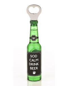 Magnetic Beer Bottle Shaped Bottle Opener - Sod Calm, Drink Beer