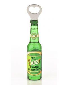 Magnetic Beer Bottle Shaped Bottle Opener - It's Beer O'clock