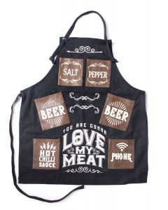 Mans Canvas Apron - Love My Meat