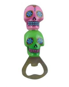 Bottle Opener Candy Skull- Pink And Green Colour