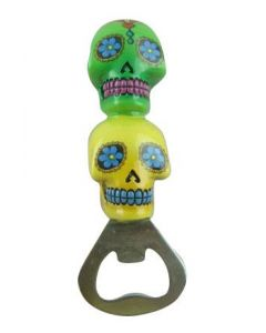 Bottle Opener Candy Skull- Green And Yellow Colour