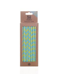 50 Boxed Funky Blue & Yellow Gin Time Paper Straws