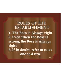 Plaque - Rules Of Establishment