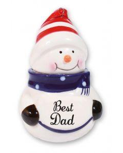 Snowman Decoration - Best Dad Blue
