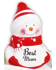 Snowman Decoration - Best Mum Red