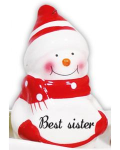 Snowman Decoration - Best Sister Red