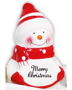 Snowman Decoration - Merry Christmas Red