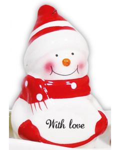 Snowman Decoration - With Love Red