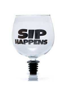 TIPPLE TOPPER WINE GLASS -  SIP HAPPENS