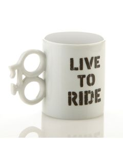 LIVE TO RIDE 14OZ MUG WITH BIKE SHAPED HANDLE