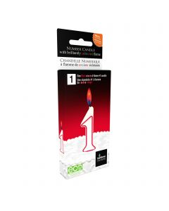 NUMBER SHAPED CANDLE 1 - RED FLAME