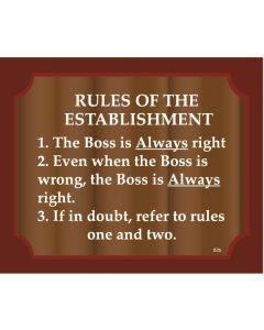 PLAQUE - RULES OF ESTABLISHMENT