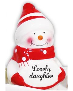 SNOWMAN DECORATION - LOVELY DAUGHTER RED
